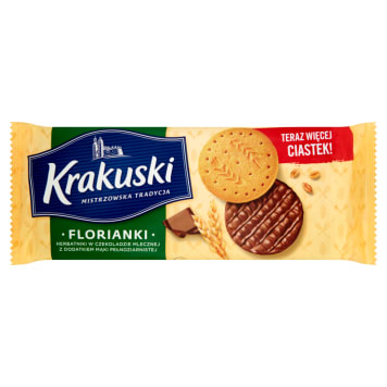 KRAKUSKI Biscuits in milk chocolate with wholemeal flour 171g