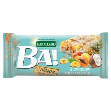 Baton zbożowy z owocami tropikalnymi i polewą jogurtową – Bakalland to moc pięciu suszonych owoców w wygodnej formie.