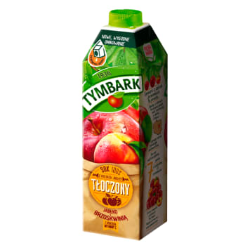 TYMBARK 100% juice made of apples with peach and vitamin C 1l