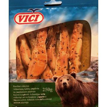 VICI Hot smoked Atlantic salmon belly with pepper 250 g
