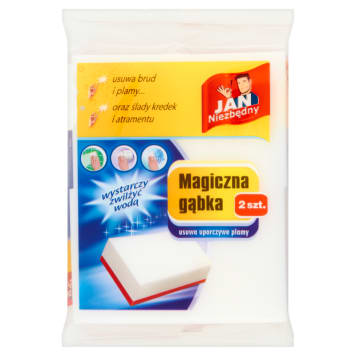 Magiczna gąbka 2 szt. - Jan Niezbędny to prawdziwa innowacja w czyszczeniu zabrudzeń bez chemii.