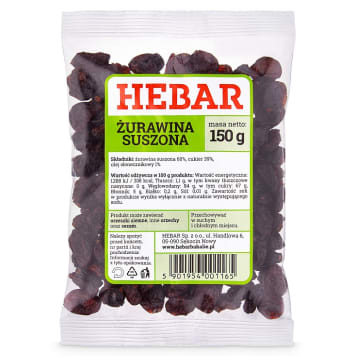 HEBAR Dried cranberries 150g