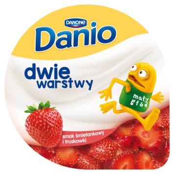 DANONE Danio Dwie warstwy Cream-flavored homogenized cheese with strawberries 120g
