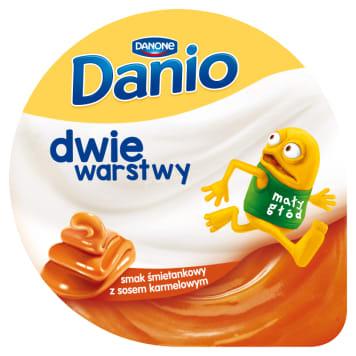 DANONE Danio Dwie warstwy Serek homogenizowany o smaku śmietankowym z sosem karmelowym 120g