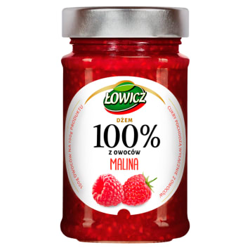 Łowicz - Dżem 100% z owoców malin. 100 g produktu wykonane jest ze 100 g owoców.