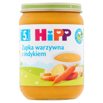 Hipp - Zupka jarzynowa z indykiem Bio - po 5 miesiącu. Pomaga dziecku właściwie się rozwijać.