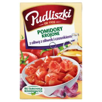 Pudliszki- Pomidory krojone z oliwą z oliwek i czosnkiem o naturalnym smaku.