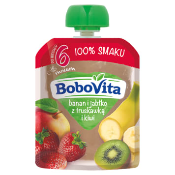 BOBOVITA 100% SMAKU Banana and apple with strawberry and kiwi after 6 months 80 g