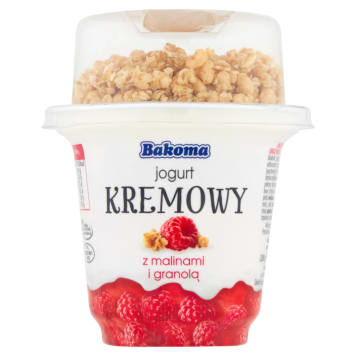 BAKOMA Creamy yogurt with raspberries and granola 300g