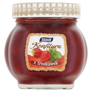 Konfitura truskawkowa 250g STOVIT - owoce zamknięte w słoiku. Pyszne śniadanie lub przekąska.
