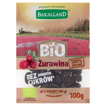 BAKALLAND BIO Dried cranberries with concentrated apple juice BIO 100g