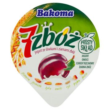 Bakoma 7 zbóż - Jogurt ze śliwkami i ziarnami zbóż. Zdrowa przekąska każdego dnia.