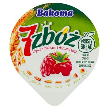 Jogurt z malinami i ziarnami zbóż - BAKOMA. Pełnowartościowy jogurt z ziarnami zbóż.