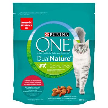 PURINA ONE Dual Nature Spirulina Pełnoporcjowa karma dla dorosłych kotów bogata w wołowinę 750g