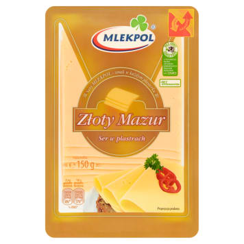 Ser żółty Złoty Mazur w plastrach – Mlekpol jest zawsze świeży i smaczny.