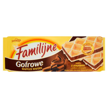 Familijne wafle gofrowe z musem czekoladowym- Jutrzenka to przekąska dla całej rodziny.