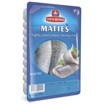 SANTA BREMOR Filety śledziowe a`la Matjas w oleju 250g