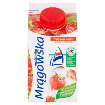Mrągowska maślanka truskawkowa 500 ml – Mlekpol. To zdrowy napój mleczny.