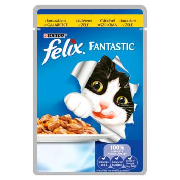 Pokarm dla kotów kurczak 100g - Purina Felix Fantastic. Zawiera wiele składników odżywczych.