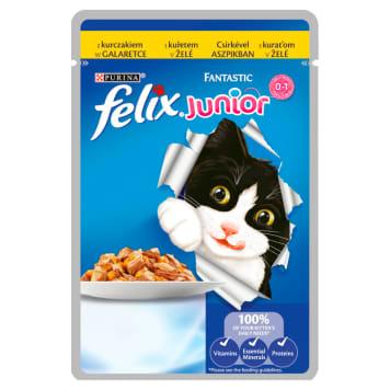 Karma dla kociąt z kurczakiem w galaretce - Purina Felix wspiera zdrowy rozwój małych pupili.