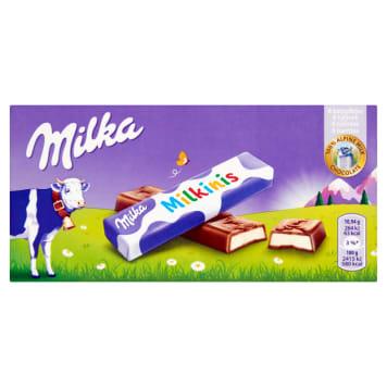 Batonik mleczny Milka Milkinis pokryty jest pyszną czekoladą Milka, która rozpływa się w ustach.
