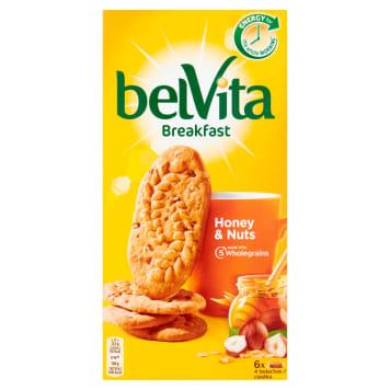 Ciastka zbożowe z orzechami - Belvita. Śniadaniowe ciasteczka z miodem i orzechami.