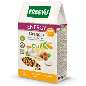 Znalezione obrazy dla zapytania FreeYu Granola z kokosem, orzechami, dynią i bananem ENERGY