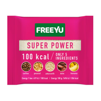 FREEYU Date bar with banana, coffee, amaranth SUPER POWER 28g