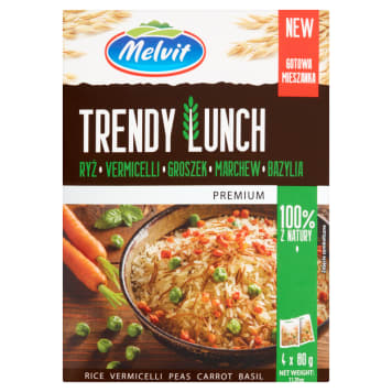 MELVIT Premium Trendy Lunch Rice vermicelli peas carrot basil (4 x 80 g) 320g