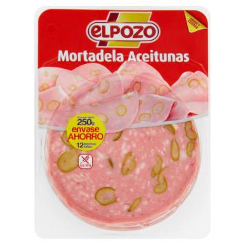 Mortadela z oliwkami w plastrach - Elpozo. Unikalne połączenie znanego smaku z dodatkiem oliwek.