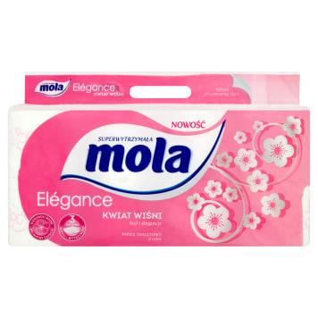 Papier toaletowy kwiat wiśni 8 rolek MOLA. Delikatny, miękki biały papier z wytłaczanym wzorem.