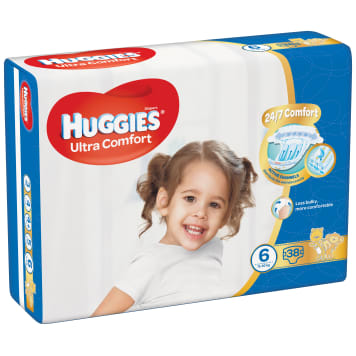 HUGGIES Ultra Comfort Diapers Size 6 (15-25kg) 38 pieces 1pc