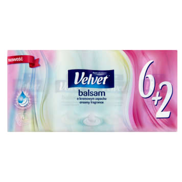 VELVET Balsam Hygienic tissues with a balm with a creamy aroma of 9x6 + 2 pcs 1pc