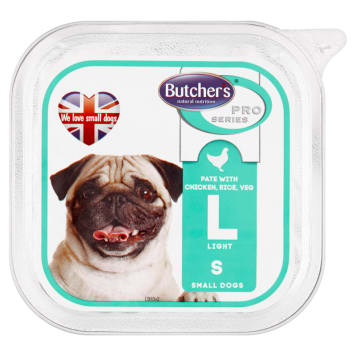 BUTCHER'S PRO SERIES Light Dog food for adults chicken pate with rice and vegetables 150g