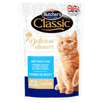 BUTCHER'S Classic Cat food pieces in a sauce with trout and cod 100g