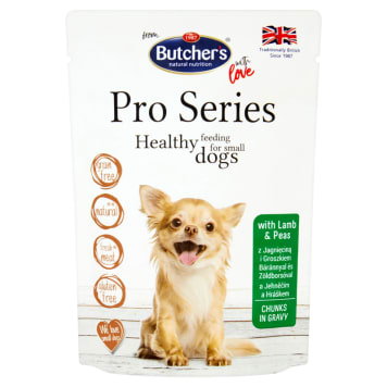 BUTCHER'S PRO SERIES Dog food for adults cuts in a sauce of lamb and peas 100 g