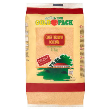GOLD PACK Cukier trzcinowy Demerara nierafinowany drobny 1kg