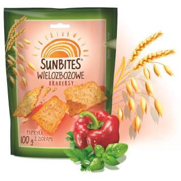Paprykowe herbatniki wielozbożowe - Sunbites. Przekąska bogata w trzy rodzaje zbóż i błonnik.