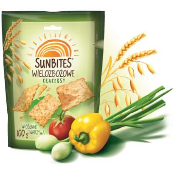 SUNBITES Herbatniki wielozbożowe wiosenne warzywa 100g - chrupiące, o wiosennym smaku.
