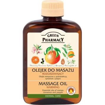 Rozgrzewający olejek do masażu Green Pharmacy z olejkiem cynamonowym i pieprzowym, lekki i wydajny.