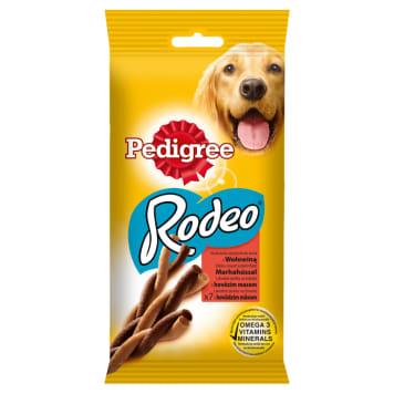 Przysmak dla psów z wołowiną Pedrigree Rodeo to smakołyk o dobroczynnym dla dziąseł działaniu.