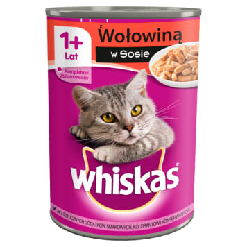 Whiskas Adult - Karma dla kotów z wołowiną w puszce. Uzupełnienie codziennej kociej diety.