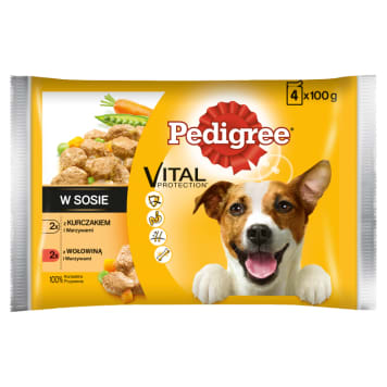 PEDIGREE ADULT Food for Dogs - Chicken / Vegetables and Beef / Vegetables 4 pcs 400g