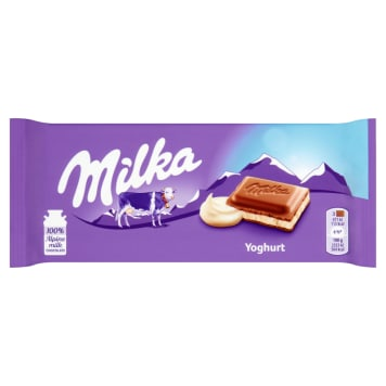 Milka- Czekolada mleczna Joghurt to pyszna i słodka przekąska.