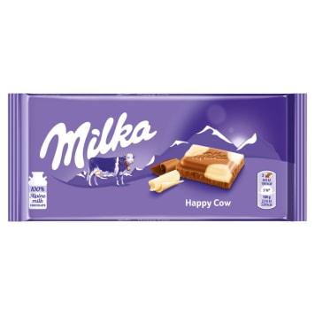 Milka – Czekolada mleczna Happy Cows to pokryta łatkami białej czekolady słodka przekąska.