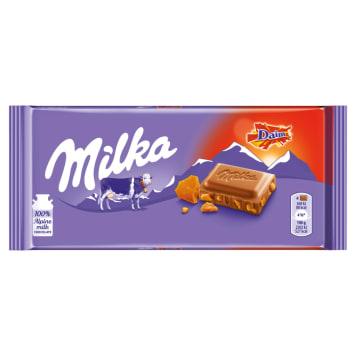 MILKA czekolada mleczna DAIM 100g - karmelowy batonik Daim i czekolada z alpejskiego mleka w jednym.