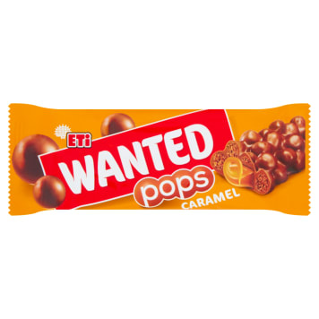 ETI Wanted A bar with caramel filling covered with cereal crisps 28g