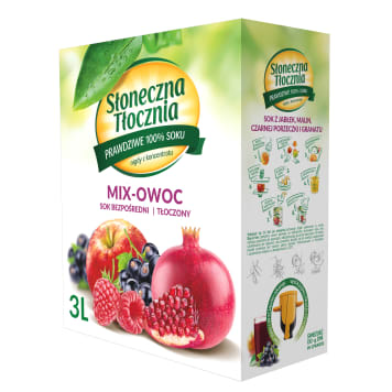 SŁONECZNA TŁOCZNIA Apple juice pear black currant grapes pomegranate 3 l