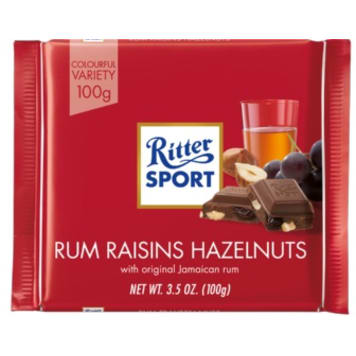 RITTER SPORT Milk chocolate with rum and nuts and raisins 100g