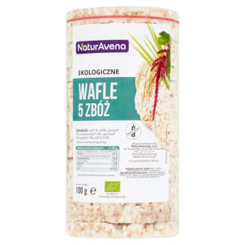 Wafle 5 zbóż bio 100 g- Bioavena. Zdrowa przekąską bez dodatku cukru i bez glutenu.